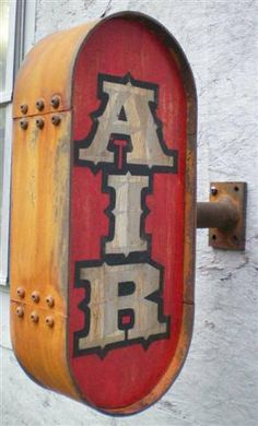 ▶▶▶ Rusty Vintage Style Air Sign- replace the lettering..