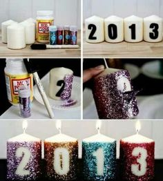 Sticky numbers/letters, plain wide candles, Modge Podge and glitter. Peel off stickers before totally dry so it doesn't get stuck under the glue or peel off extra glitter with it. You could use numbers or letters to create a name or word.