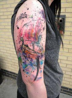 traditional tattoos, watercolor tattoos, ship, art, box, paint, a tattoo, boat, tattoo ink