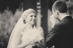 An emotional groom sees his bride for the first time! Photo by Katherine Salvatori Photography | via junebugweddings.com