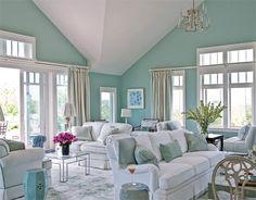 wall colors, living rooms, blue, beach houses, beach house decor, beach cottag, paint colors, color scheme, white furniture