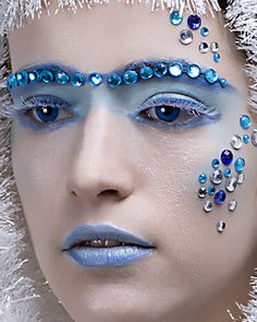 A frosty make-up look with icy crystals.