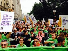 We're @Oxfam and we're ready to march! #PeoplesClimate #FoodFight