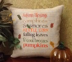 AUTUMN Blessings Subway Stenciled Burlap by BurlapPillowsEtc