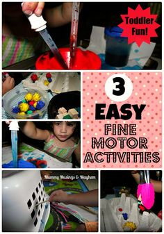 3 Easy fine motor activities for toddlers and PreK using items from around the home...