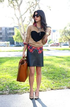 Leather skirt, heart sweater, red plaid, and leopard - I can do this! love the sweater on top of the red plaid!!!