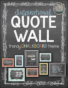 "Create a stylish quote wall with a ""Trendy Chalkboard"" theme! Choose from several coordinated versions of 10 favorite inspirational quotes. Arrangement ideas included! ($)"