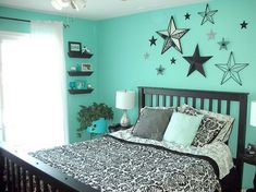 Maybe I should go teal, coral, and black not brown... but def. stars wall colors, teal color bedroom, teal room, cute bedroom wall color, star decorated room, black teal bedroom, star room, star bedroom, teal teenage bedroom