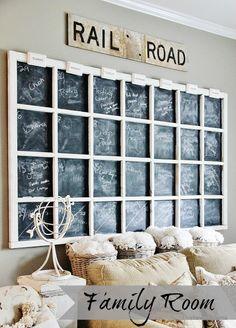Large chalkboard calendar, love it via Thistlewood Family Room