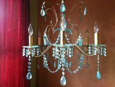 Chandelier Aqua Aurora Borealis Crystal and Brass by queendecor, $1800.00