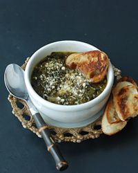 zuppa verde (simple and superb, healthy italian classic) - tastes exactly like an italian grandmothers' wedding soup! next time, less red pepper. the bread makes it, and the cheese (we used pecorino romano)