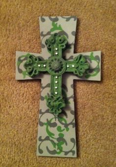 Wooden painted cross with top cross