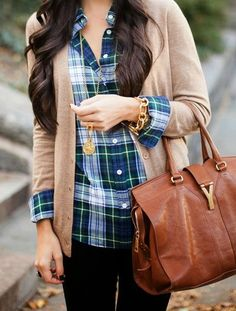 j crew, brown bags, fall looks, buttons, plaid shirts, brown boots, casual outfits, black pants, flannel shirt outfit