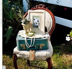 Vintage Wedding Decor - vintage suitcase, pearls and an old chair. So timeless.