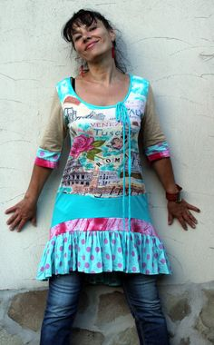 Summer romantic dress tunic recycled by jamfashion on Etsy