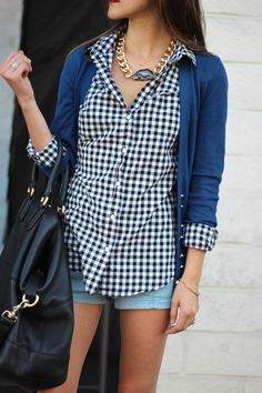 shorts, plaid shirt, cardigan and cute necklace!