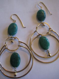 Russian Amazonite Gold Swing Hoops by 3tomatoes on Etsy, $75.00
