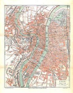 City Plan Lyon France Vintage Map 1920s by carambas on Etsy, $16.00