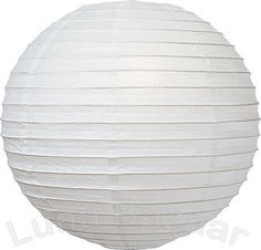 White 16 Inch Premium Round Paper Lantern by Luna Bazaar. $6.95. This white paper lantern is made with the finest quality rice paper and bamboo or wire parallel ribbing. As with all our premium paper lanterns, they can be used with most ceiling fixtures and with most light cords for hanging lanterns. They can also be used with our LED battery lights as convenient, cord-free lighting and decoration for parties, weddings, patios, gardens, and outdoor celebrations. (Plea...