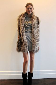 dress, fur, boots