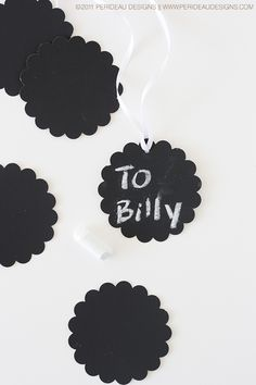 Chalkboard Paint onto mini wood cutouts for gift tags