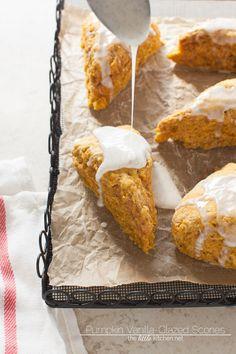 Pumpkin Obsessed Vanilla-Glazed Scones #recipe from @theLittleKitchn