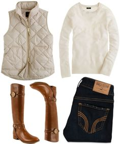 Cute for fall football games! vest, sweater, jeans, boots.