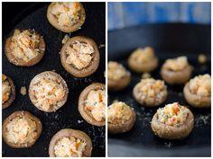 thanksgiving leftover recipes: stuffing stuffed mushrooom caps