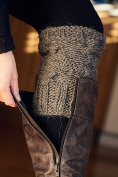 SO smart!  cut an old sweater sleeve and use as sock lookalike without the bunchyness in your boot... need to remember this for fall! GOODWILL sweater?