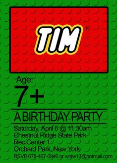 lego birthday party invitation