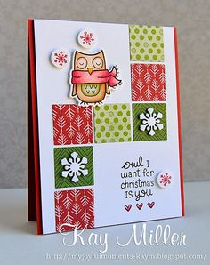 Lawn Fawn - Winter Owl and coordinating die, Fa La La 6x6 paper _ beautiful design by Kay!