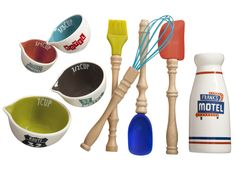 Ceramic measuring cups, milk bottle, and silicone baking utensils from The Curiosity Shoppe at #Target.