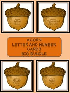 Here is the acorn letter and number cards in a bundle. The Bundle includes the Acorn Full Page Alphabet Letter Cards Uppercase and Lowercase and the Acorn Alphabet Letter Cards Uppercase and Lowercase as well as the Acorn Full Page Number Cards 0-100 and Acorn Number Cards 0-100 (small cards).