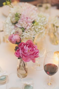 Scattered vases make for a gorgeous #centerpiece | Photography: Weddings By Morris - weddingsbymorris.com.au  Read More: http://www.stylemepretty.com/australia-weddings/2014/04/22/romantic-summer-wedding-at-gunners-barracks/