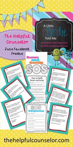 Gossip and rumors activity - The Helpful Counselor FB Fan June Freebie