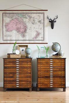 drawer cabinet, diy map, map drawer