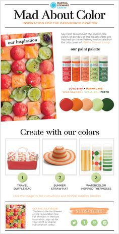 3 #DIY beach Projects from Martha Stewart Crafts Mad About Color summer melon inspired color palette from the cover of @MS_Living #marthastewartcrafts #marthastewart #plaidcrafts