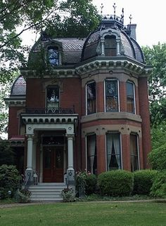 victorian :) roof, old homes, illinoi, mansion, dream homes, brick, old houses, dream houses, victorian houses