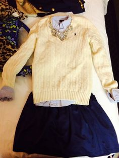 skirt, statement necklaces, cloth, church outfits, fashion outfits, knit sweaters, fall fashion, southern prep, teacher outfits
