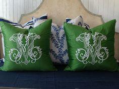 Amazing Emerald Green Custom monogram on silk pillows. NumberFour Eleven, Savannah, beautiful monograms.
