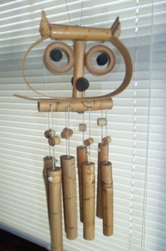 Vintage Windchime Hoot Owl Made of Bamboo Mid Century Retro Home Decor | eBay
