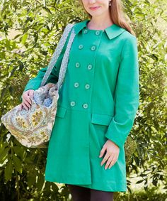 Take a look at this Bright Green Coat by April Cornell on #zulily today!