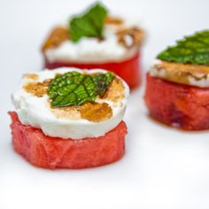 Rum Soaked Watermelon with Goat Cheese and Mint. Drizzle of Balsamic Vinegar.