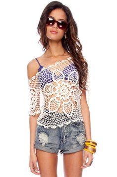 Crochet bathing suit cover.