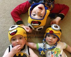 Minion Hat  Crochet Pattern 63  US and UK by Simply2Irresistible, $2.99