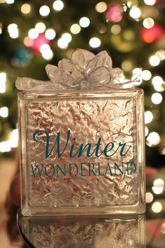 Vinyl on a glass block for Christmas decor/gift
