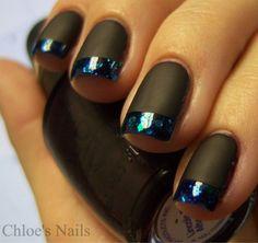 matte nails, nail polish, french manicures, black nails, nail arts, french tips, matte black, glitter, blues