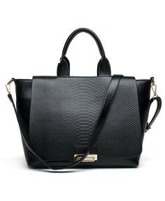 Black Snakeskin Leather Tote #black #purse #bag #fashion
