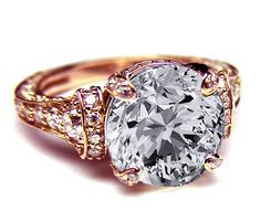 Rose Gold Cathedral Graduated pave Engagement Ring