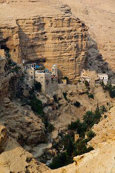 Saint George of Koziba Monastery built on the canyon walls of Wadi Qilt, Israel (by Miki Badt).